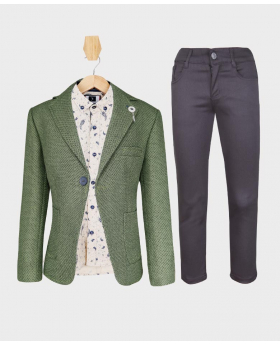 Doctor Junior Boys Green and Grey Slim Fit Casual Dress Suit Set