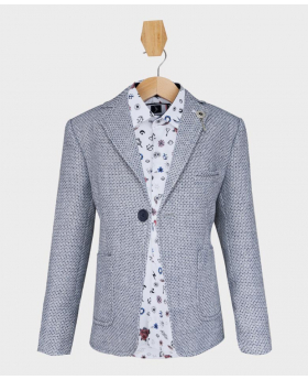 Doctor Junior Boys Grey Blue Slim Fit Casual Dress Suit Jacket Blazer