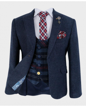 Doctor Junior Boys Navy Blue Wool Blazer with Shirt Tie and Hankie-fully lined open front picture