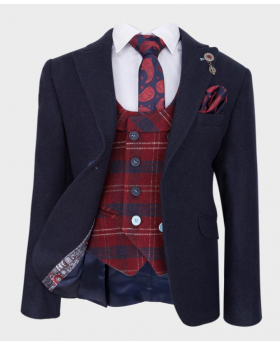 Doctor Junior Boys Night Navy Blue Wool Blazer with Navy Red Check Wastcoat with shirt tie and hankie-Full Lining