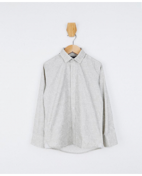 Boys Floral Patterned Slim Fit Shirt in Grey Beige front picture