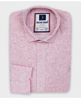 Boys Floral Patterned Slim Fit Shirt in Pink close picture