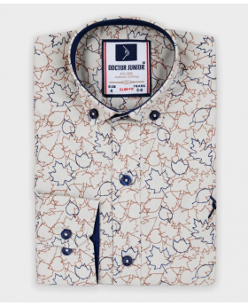 Doctor Junior Boys Slim fit Leaves Print Cotton Beige Shirt-classic collar
