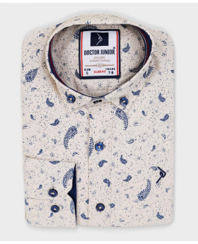 Doctor Junior Boys Slim fit Paisley Patterned Beige Smart Shirt-casual printed