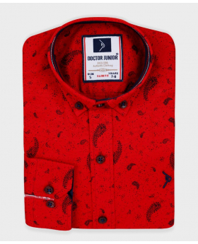 Doctor Junior Boys Slim fit Paisley Patterned Red Smart Shirt
