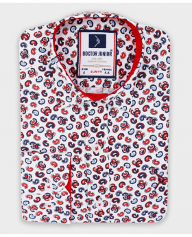 Doctor Junior Boys Slim fit Paisley Printed White and Red Casual Shirt-Patterned picture