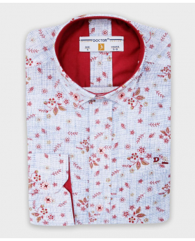 Boys Slim fit Seamless Floral Patterned Shirt in Blue & Red picture