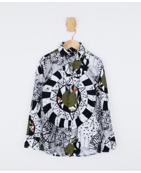 Boys Slim fit Zen Doodle Printed White & Green Fashion Shirt front picture