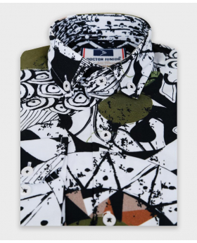 Boys Slim fit Zen Doodle Printed White & Green Fashion Shirt picture