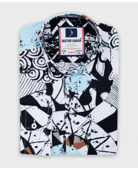 Doctor Junior Boys Slim fit Zen Doodle Printed White & Red Fashion Shirt-patterned top
