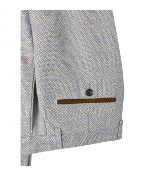 Men's Tweed Tailored Fit Trousers in Cream