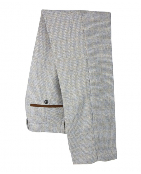 Men's Tweed Tailored Fit Trousers in Cream Front Picture