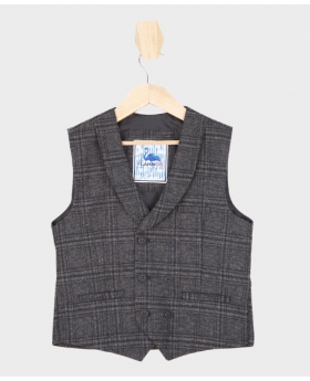 Flamingo Boys Charcoal Grey Tweed Check Double Breasted Waistcoat-jetted pockets