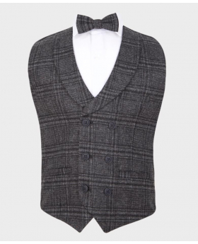 Flamingo Boys Charcoal Grey Tweed Check Double Breasted wedding occasion casual Waistcoat with matching shirt bow tie (2)