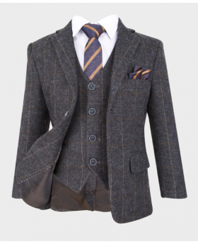 flamingo boys grey herringbone tweed check wedding prom formal suit blazer jacket with shirt striped tie and hanky-notch collar
