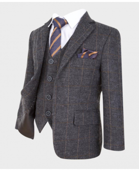 flamingo boys grey herringbone tweed check wedding prom formal suit blazer jacket with shirt stsriped tie and hanky-side
