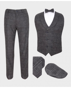 Flamingo Boys Tailored Fit Charcoal Grey Tweed Check Waistcoat Suit Set for weddings dinner parties proms and speciall occasions