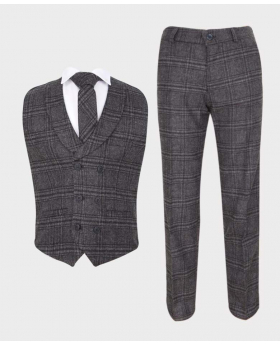 Boys Charcoal Grey Tweed Check waistcoat suit with tie for weddings and special occasions