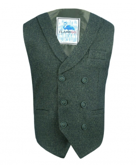 Flamingo Mens Boys Green Herringbone Tweed Waistcoat