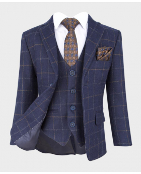 flamingo shelby navy tweed check wedding prom occasion suit blazer with shirt tie and hanky-notch collar