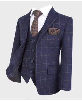 flamingo shelby navy tweed check wedding prom occasion suit blazer with shirt tie and hanky (12)