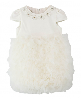 Flower Baby Girls Tutu Baptism Dress in White front picture