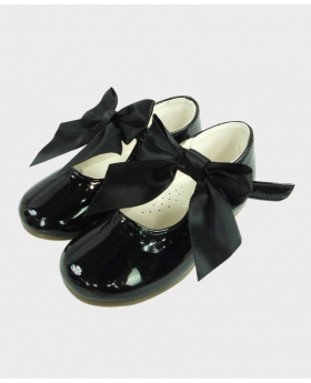 Flower Girls Black Formal Occasion Wedding Shoes-Top