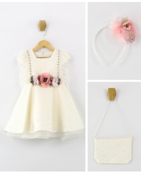Flower Girls Shimmer Floral High-Low Dress Wedding Party 3 Piece Set in Ecru front picture