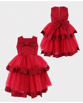 Flower Girls Tulle Special Occasion Puffy Dress in Red Front and Back Picture