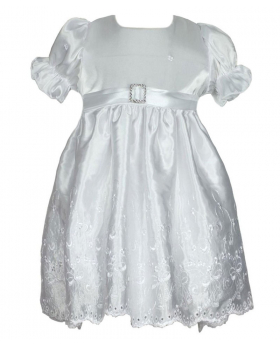 Girls Ivory Satin Dress With Cap - Occassion, Christening