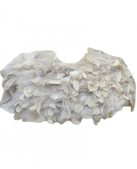 View of the Girls Cape of Fluffy Faux Feather in Beige