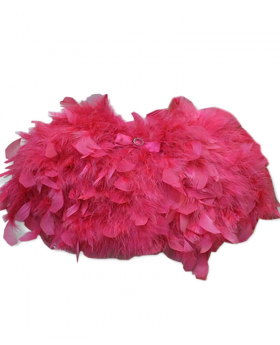 View of the Girls Cape of Fluffy Faux Feather in Fuchsia