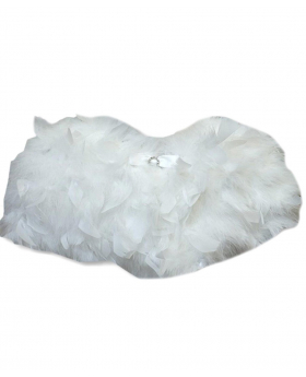 View of the Girls Cape of Fluffy Faux Feather in Ivory