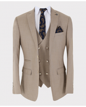 Formal Beige Blazer jacket with waistcoat and    accessories Open Picture