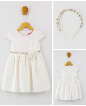 Girl Communion Short Sleeves Pearl Dress 2 Piece Set in Ecru front picture