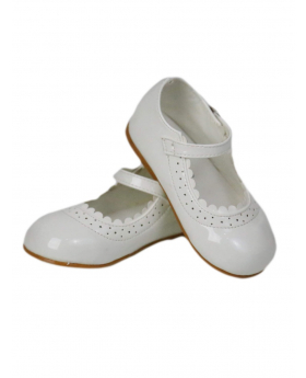 Baby Girls Wedding Party Patterned Christening Ivory Shoes