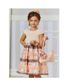 Girl Polka Summer Occasion  Dress 3 Piece Set in Peach model picture