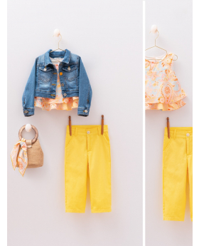 Girls Paisley Print 6 Piece Casual Outfit denim jacket, paisley sleeveless top yellow trousers with accessories front and detail pictures