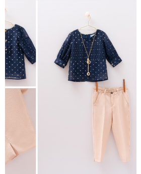 Girls Casual  Polka Dot 4 Piece Set in Navy Blue and Beige front and detail pictures