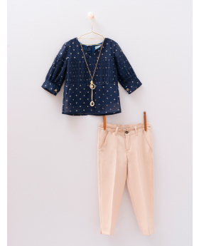 Girls Casual  Polka Dot 4 Piece Set in Navy Blue and Beige front picture