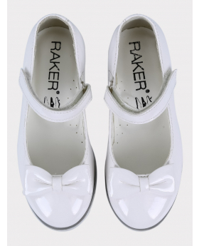 Girls Communion Patent Ballerina Shoes in White pair front picture