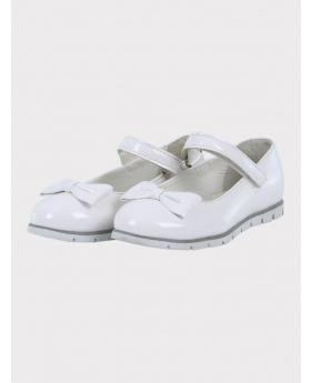 Girls Communion Patent Ballerina Shoes in White pair side picture