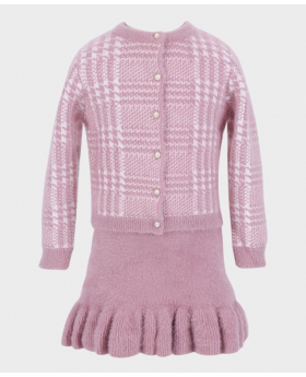 Girls Dress and Cardigan Tailored Fit Herringbone Patterned 2 pieces Set in Pink  Front Picture
