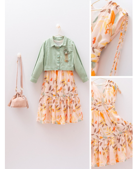 Girls Leaf Print  Dress 4 Piece Set Front and detail Pictures