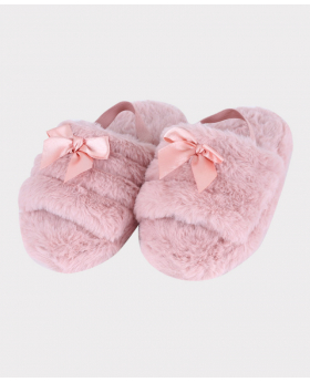Girls Plush Slippers in Faux Fur  in Pink Pair