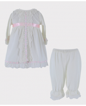 Girls Sleeping Wear Smocked Velvet 2 Pieces Set in Ivory