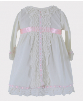 Girls Sleeping Wear Smocked Velvet Ivory Top Front Picture