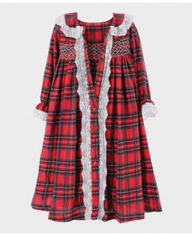 Girls Smocked Tartan Sleeping Gown 2 Pieces Set in Red