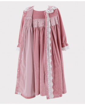 Girls Smocked Velvet Sleeping Gown 2 Pieces Set in Pink