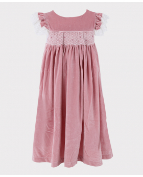 Girls Smocked Velvet Sleeping Dess in Pink